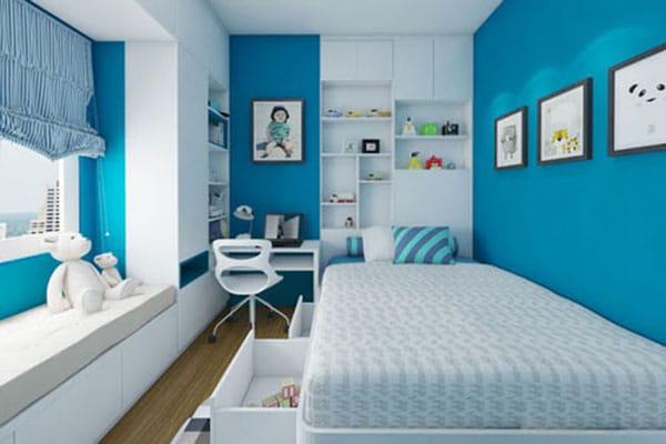 Sử dụng màu xanh cho thiết kế nội thất phòng ngủ