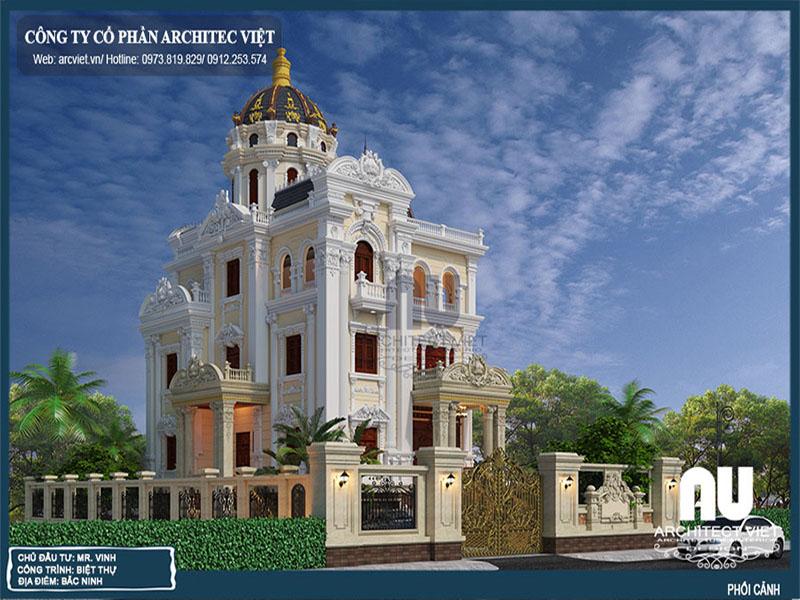 thiết kế biệt thự 3 tầng cổ điển 180m2