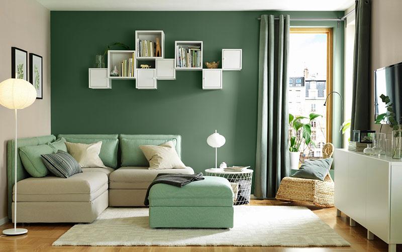 thiết kế phòng khách màu xanh cho tuổi Tân Dậu