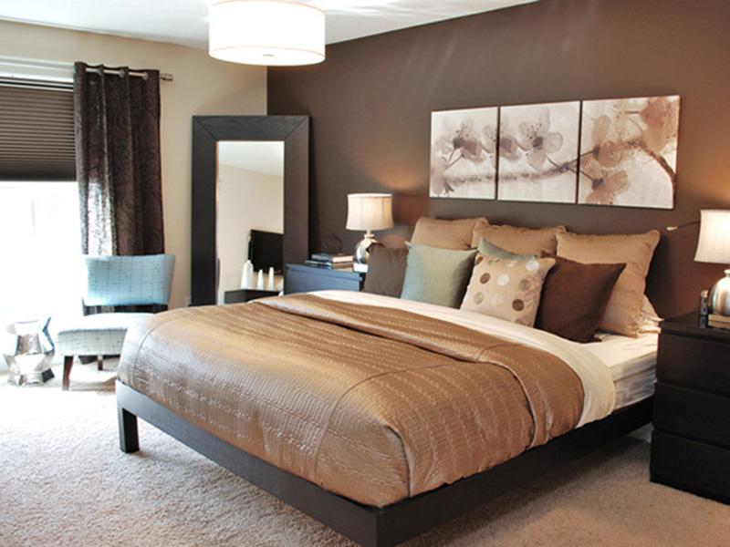 phòng ngủ màu nâu đất phù hợp với người mệnh Thổ